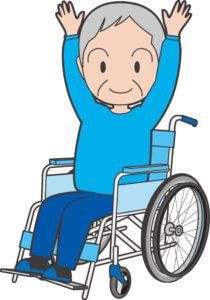 車椅子でバンザイするおばあちゃん